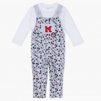 Mickey Mouse Printed Dungaree and T-Shirt Set