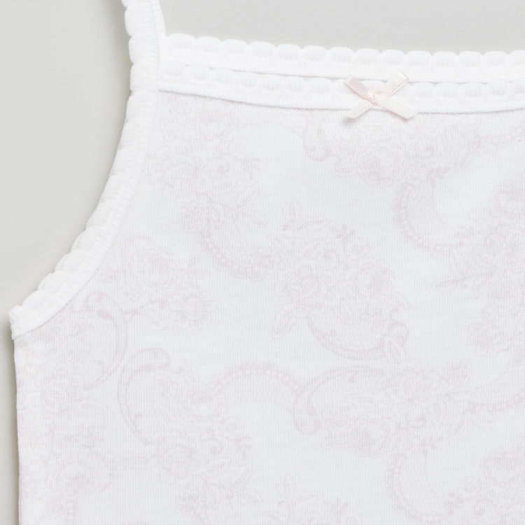 Giggles Printed Sleeveless Bodysuit with Lace Detail