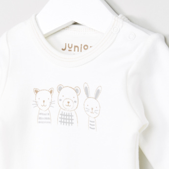 Juniors Printed Long Sleeves Bodysuit