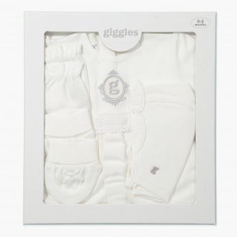 Giggles Embroidered 4-Piece Gift Set