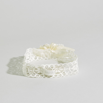 Giggles Lace and Pearl Detail Headband with Flower Applique