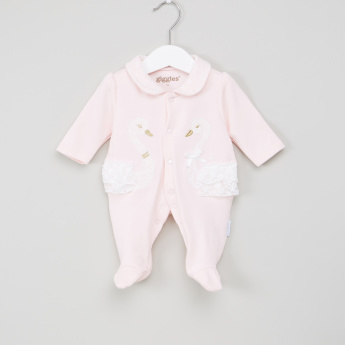 Giggles Lace Detail Closed Feet Sleepsuit