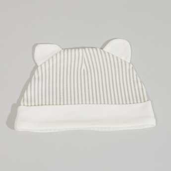 Juniors Striped Cap with Ear Appliques
