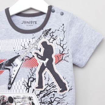 Juniors Printed T-shirt with Solid Shorts