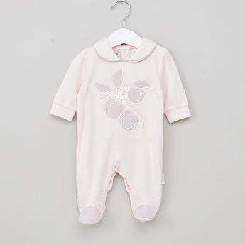 Giggles Embroidered Closed Feet Sleepsuit with Long Sleeves
