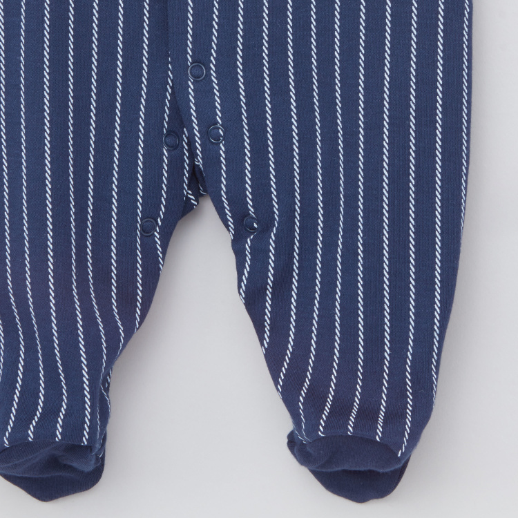 Giggles Striped Sleepsuit with Long Sleeves