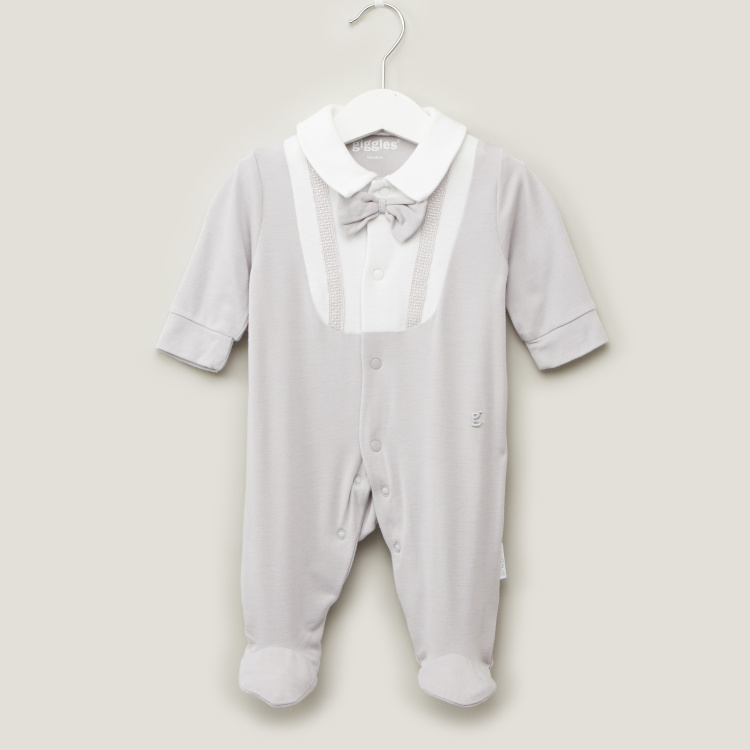 Giggles Textured Closed Feet Sleepsuit with Long Sleeves