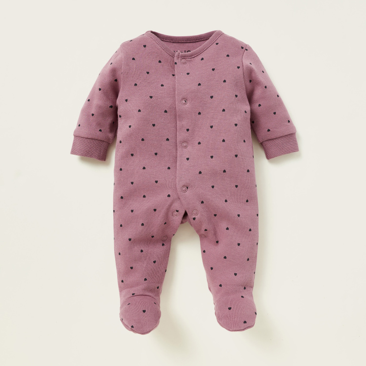 Juniors All-Over Heart Print Sleepsuit with Long Sleeves