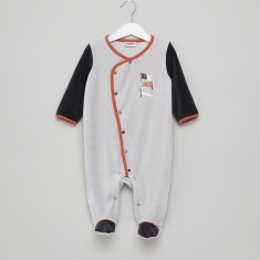 Juniors Closed Feet Sleepsuit with Button Closure and Flag Motifs