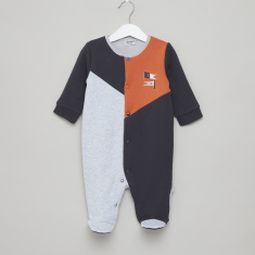 Juniors Colourblocked Round Neck Sleepsuit with Long Sleeves