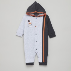 Juniors Colourblocked Sleepsuit with Hood and Long Sleeves