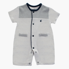 Giggles Printed Romper with Short Sleeves and Button Closure