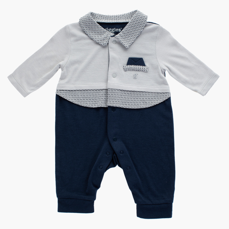 Giggles Solid Open Feet Sleepsuit with Long Sleeves