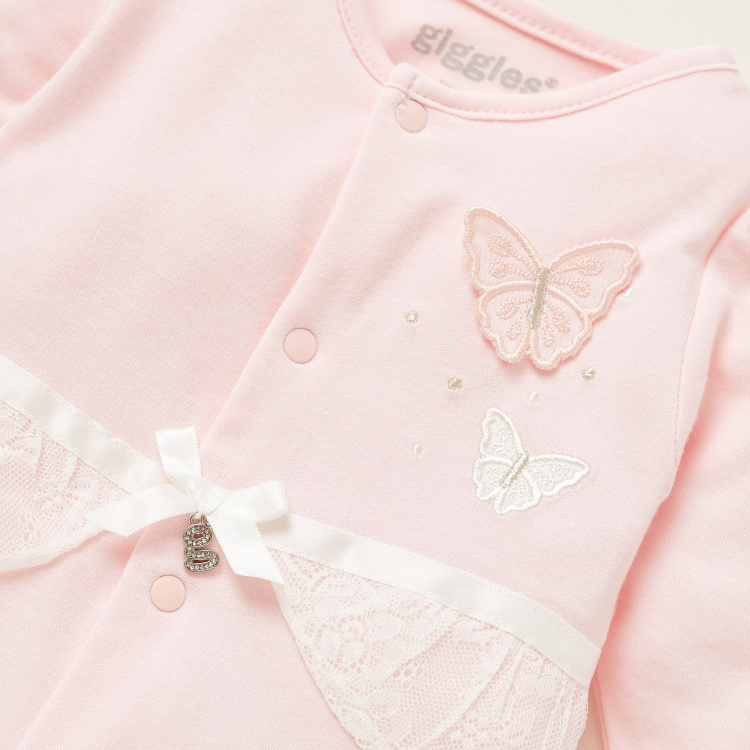 Giggles Butterfly Applique Detail Closed Feet Sleepsuit