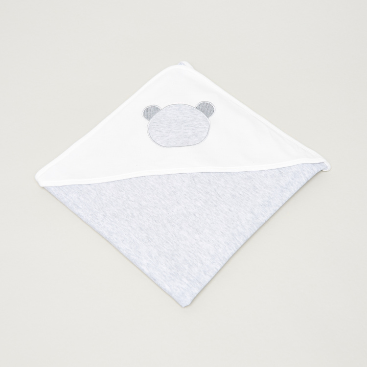 Giggles Noah Bear Embroidered Receiving Blanket with Hood - 78x78 cms