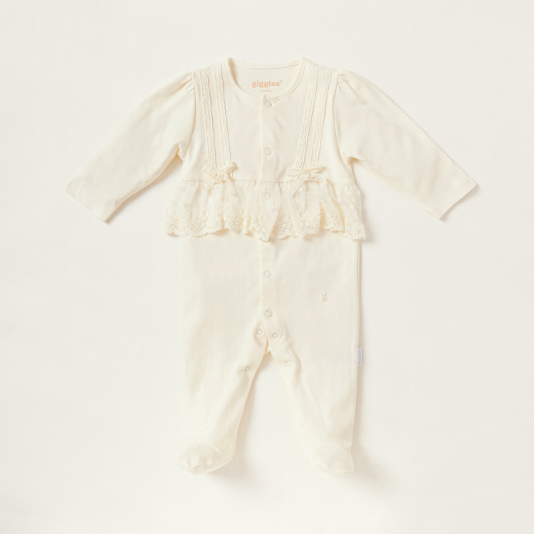 Giggles Solid Closed Feet Sleepsuit with Bow Accent and Long Sleeves