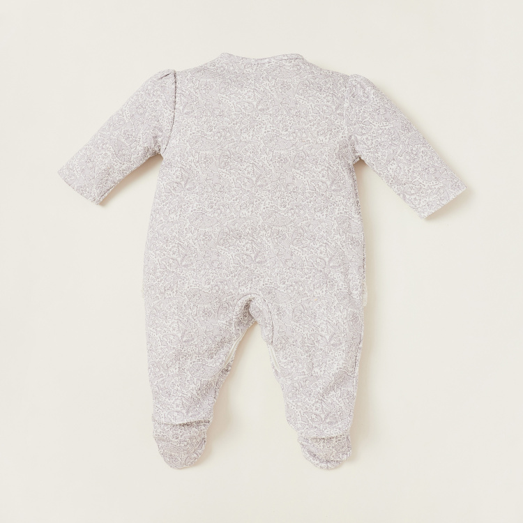 Giggles Printed Closed Feet Sleepsuit with Lace Accent and Round Neck