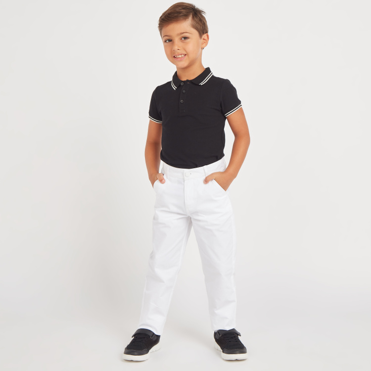 Juniors Textured Polo Neck T-Shirt with Short Sleeves