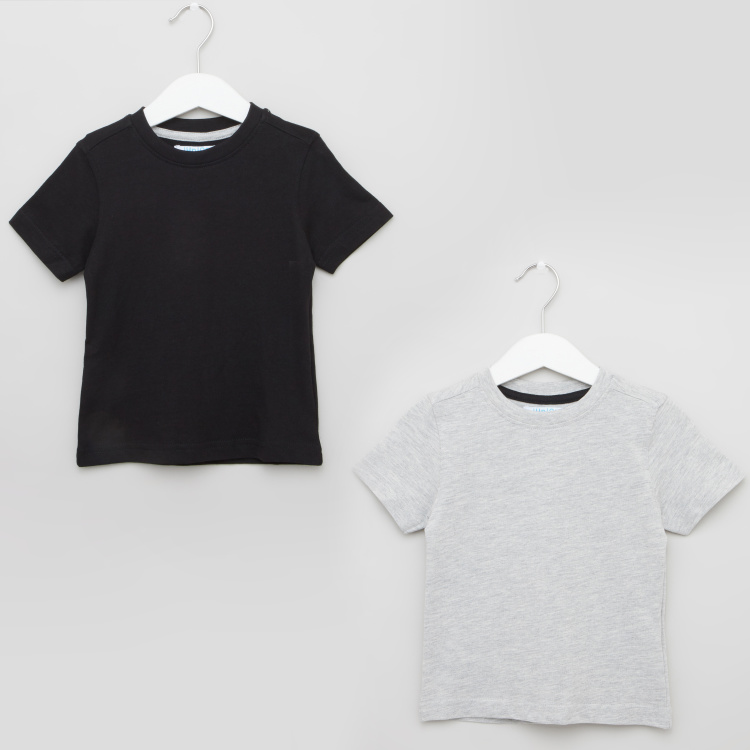 Juniors Solid T-shirt with Round Neck and Short Sleeves - Set of 2
