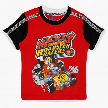 Mickey and the Roadster Racers Printed Crew Neck T-Shirt