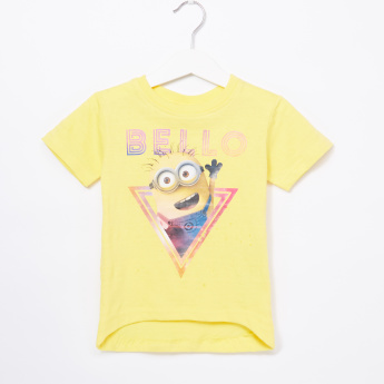 Despicable Me Printed Asymmetric Round Neck T-Shirt