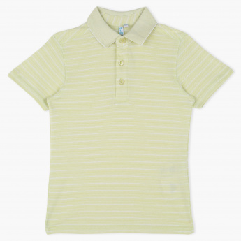 Juniors Polo Neck Striped T-Shirt