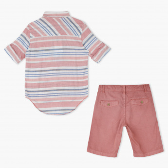 Juniors Striped Shirt and Shorts Set