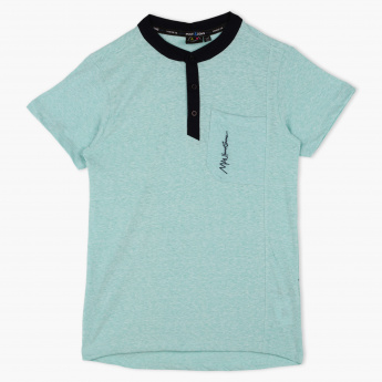 MAUI and Sons Printed Henley Neck T-Shirt