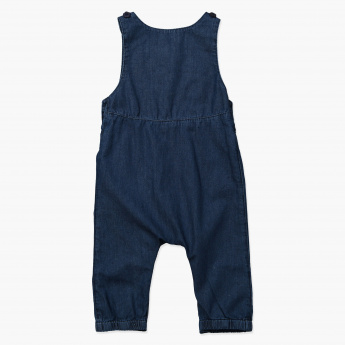 Juniors Embroidered Sleeveless Dungarees