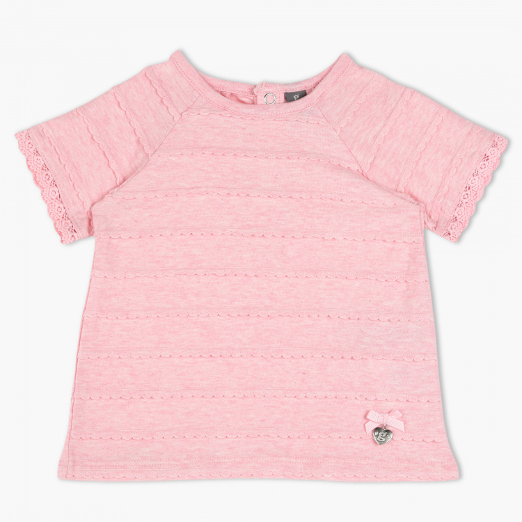 Giggles Textured Crew Neck T-Shirt