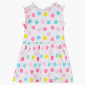 Juniors Dot Print Sleeveless Dress