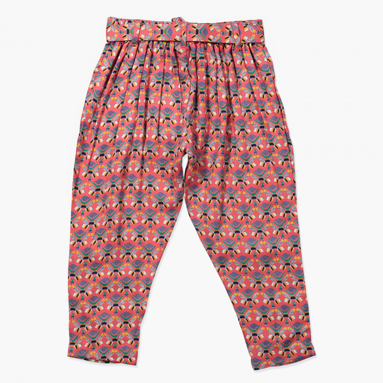 Juniors Printed Full Length Pants with Bow Applique