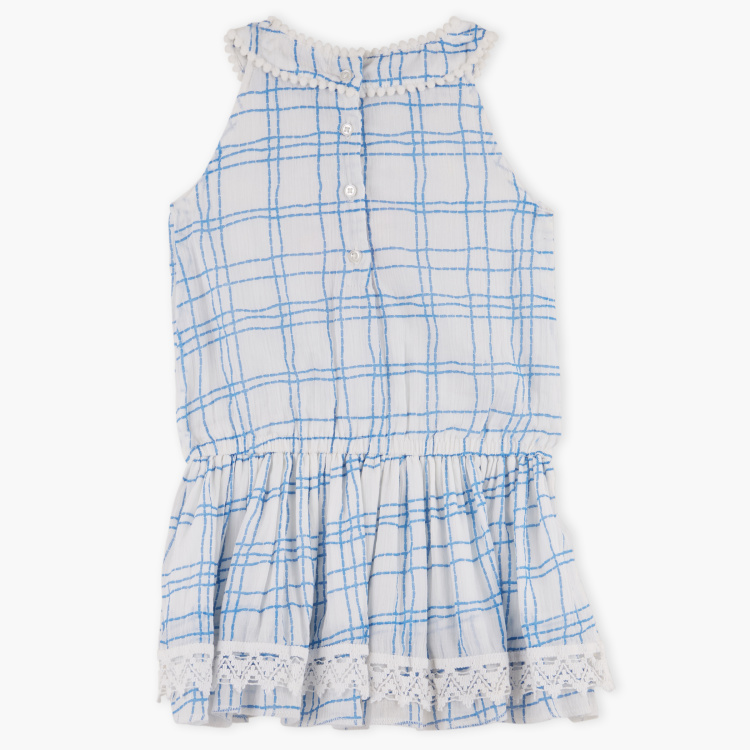 Juniors Chequered Sleeveless Dress