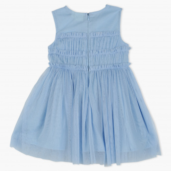 Juniors Sleeves Mesh Dress with Pleats