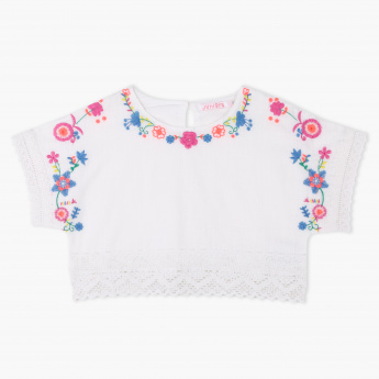 Juniors Embroidered Lace Detail Top