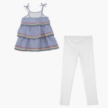 Juniors Striped Top and Leggings Set