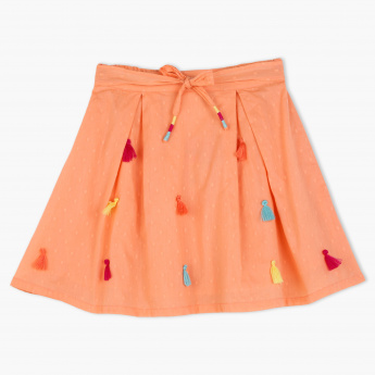 Juniors Printed Skirt with Tassels
