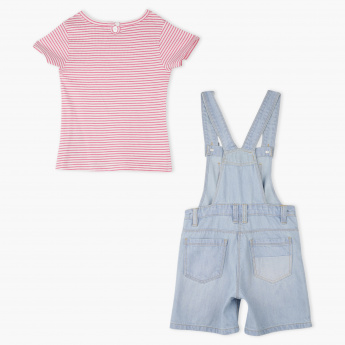 Juniors Striped T-Shirt and Dungaree Set