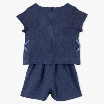 Eligo Textured Cap Sleeves Romper