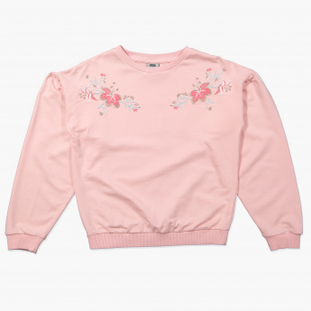 Posh Embroidered Long Sleeves Sweat Top