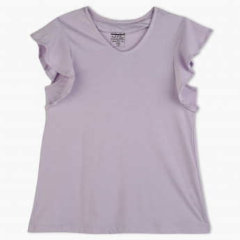 Posh V-Neck Cap Sleeves T-Shirt