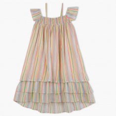 Posh Striped High Low Hem Dress