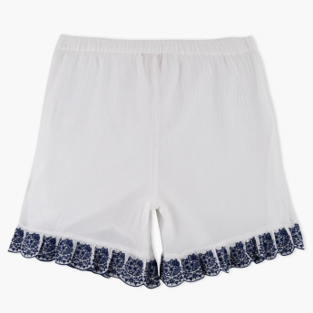 Hello Kitty Embroidered Shorts with Elasticised Waistband