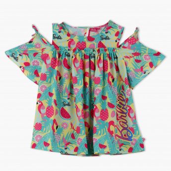 Barbie Printed Cold Shoulder Top