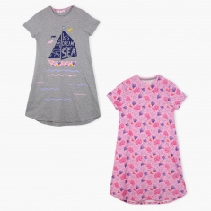 Juniors Printed Round Neck Sleep Dress - Set of 2