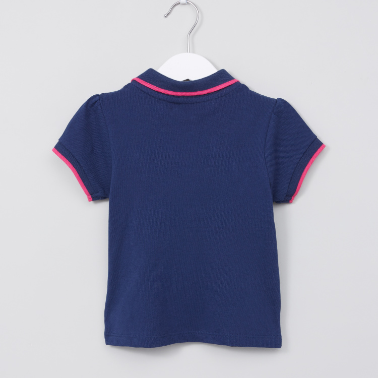 Juniors Ruffle Detail Polo T-shirt with Short Sleeves