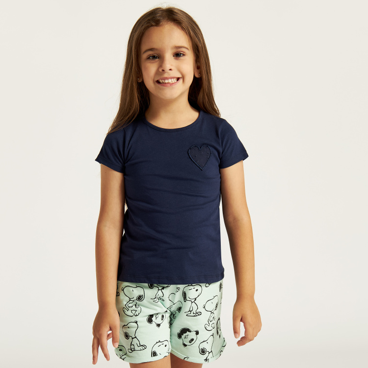 Juniors Schiffli Detail Round Neck Top - Set of 2