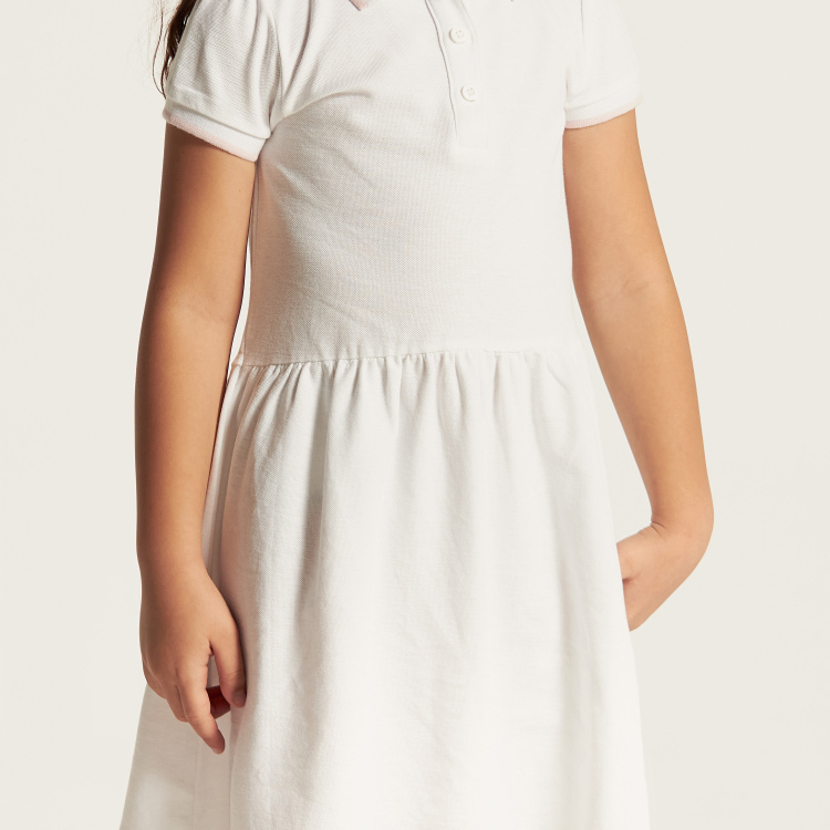 Juniors Solid Dress with Short Sleeves and  Piping Detail