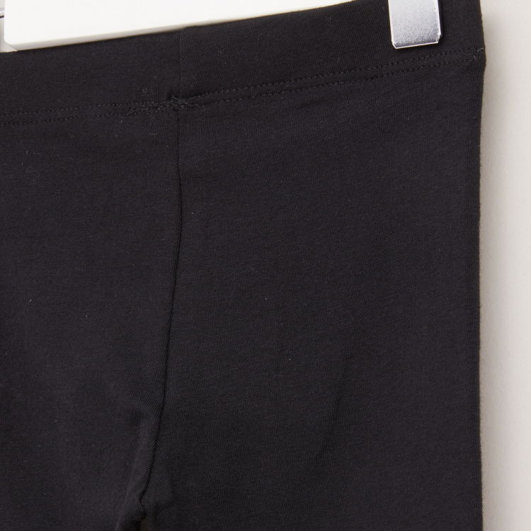 Juniors Plain Leggings with Elasticised Waistband - Set of 2