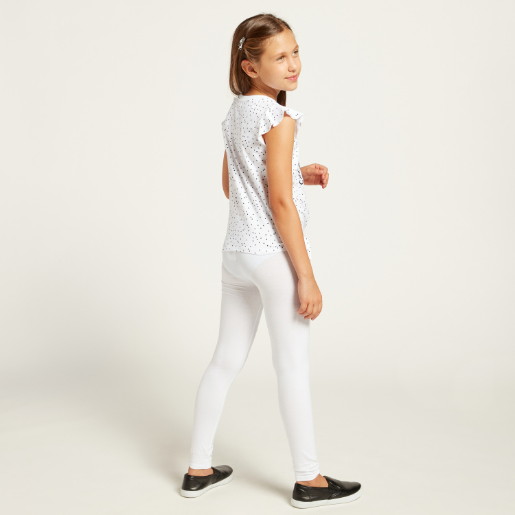 Juniors Full-Length Solid Leggings with Elasticised Waistband
